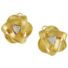 Large Boris LeBeau Diamond Gold Ear Clips