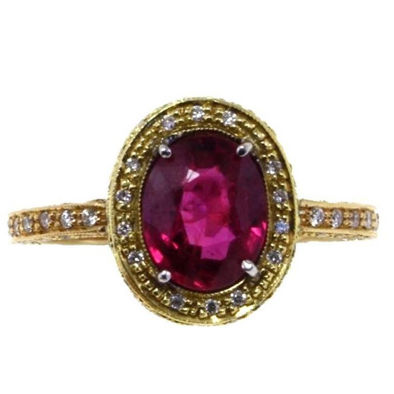 18kt  Gold Diamond Ruby Ring