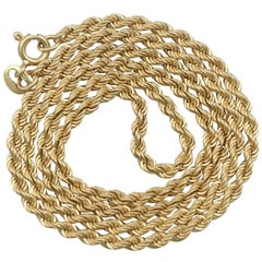 1970s 18 Karat Yellow Gold Rope Chain