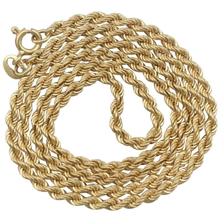 1970s 18 Karat Yellow Gold Rope Chain