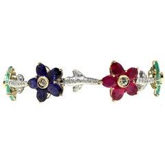 Luise Gold Diamond Ruby Sapphire Emerald Bracelet