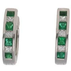 Diamond Emerald Huggy White Gold Hoop Earrings