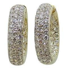 5.00 Carat Pave Diamond Hoop Yellow Gold Earrings