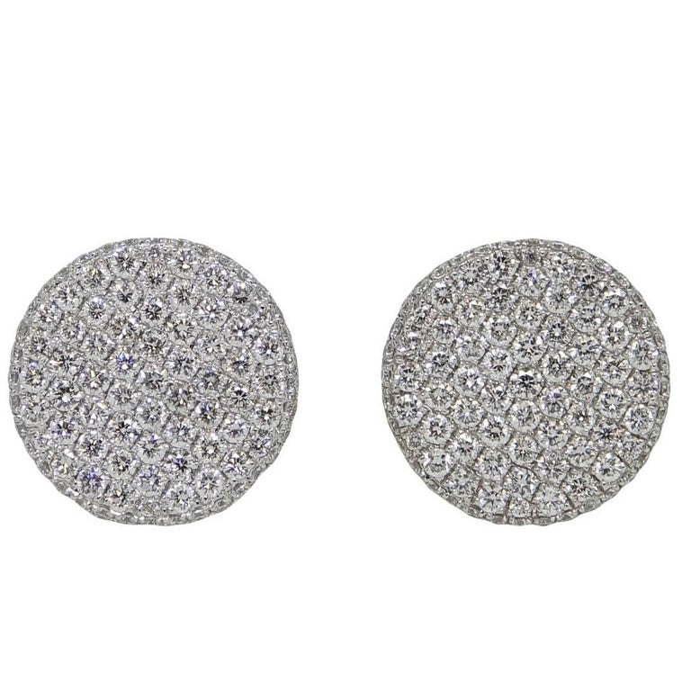 1.90 Carat Diamond Button White Gold Earrings For Sale