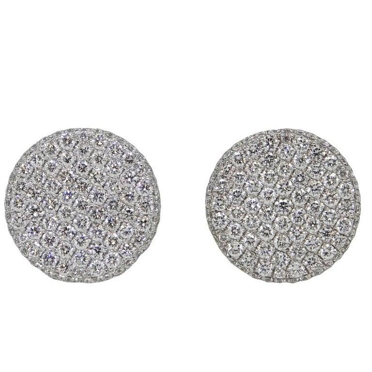 1.90 Carat Diamond Button White Gold Earrings 1