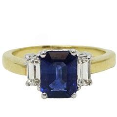 2.15 Carat Emerald Cut Sapphire Engagement Ring