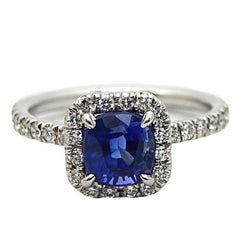 1.99 Carat Cushion Cut Sapphire and Diamond Platinum Engagement Ring