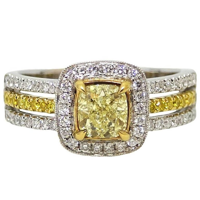 1.01 Carat Cushion Cut Yellow Diamond Engagement Ring