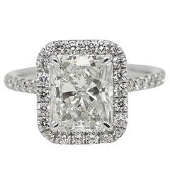 3.03 Carat Radiant Cut Diamond Platinum Engagement Ring