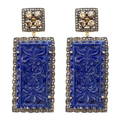 Carved Lapis Diamond and Sterling Silver Drop Earrings