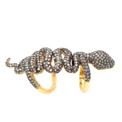Snake Champagne Diamond and Gilt Silver Full Finger Ring