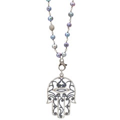 Hamsa Diamond Sapphire and Freshwater Pearl Sterling Silver Pendant Necklace