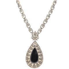 Samira13 Diamond Onyx and Gilt Silver Teardrop Pendant Necklace