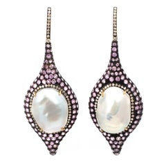 Diamond Pink Sapphire and Tahitian Pearl Silver Drop Earrings