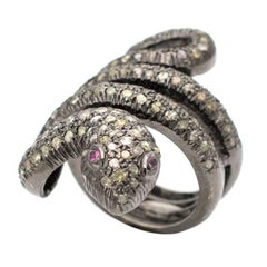 Coiled Snake Champagne Diamond and Ruby Sterling Silver Ring