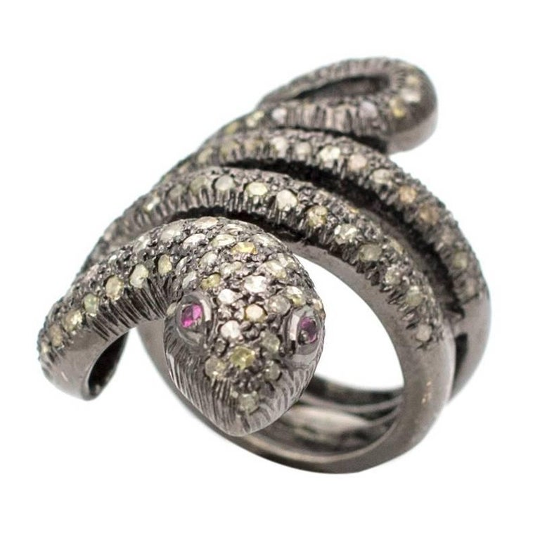 Coiled Snake Champagne Diamond And Ruby Sterling Silver