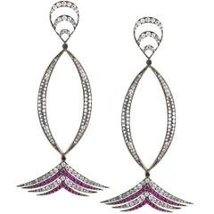 Deborah Pagani Imperial Ruby and Gray Diamond White Gold Drop Earrings