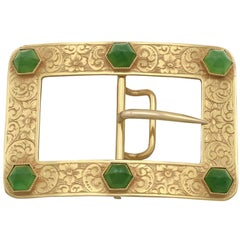 1860s Victorian Chrysoprase and Yellow Gold Belt Buckle