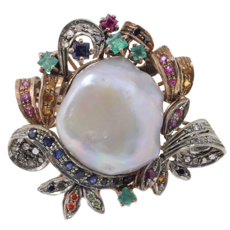 Sapphire Pearl Diamond gold and silver Ring