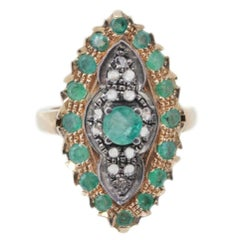 Emerald and Diamond gold and silver Ring