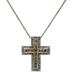 Luise Gold Diamond Topaz Pendant Necklace