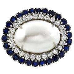 Beautiful VS Diamond Sapphire Mabe Pearl 14 Karat White Gold Pendant