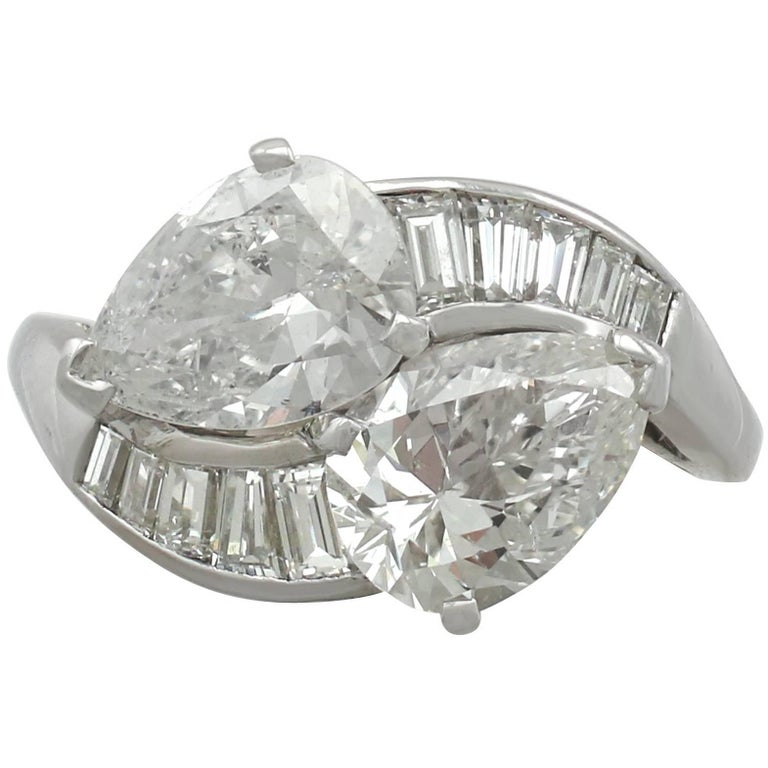 1990s 3.80 Carat Diamond and Platinum Twist Ring