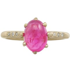 1950s 2.68 Carat Star Ruby and Diamond Yellow Gold Cocktail Ring