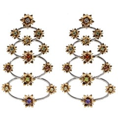 Luise Gold Sapphire Diamond Chandelier Earrings