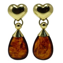6.20 g Amber Drops 18K Yellow Gold Heart Shape Drop Earrings