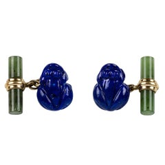 Lapis Lazuli and Jade Frog Gold Cufflinks