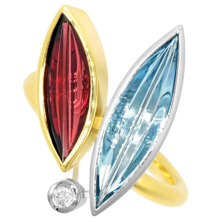 Atelier Munsteiner Aquamarine Spessartine Garnet Diamond Platinum Gold Ring