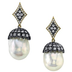 South Sea Pearl and Diamonds Earrings