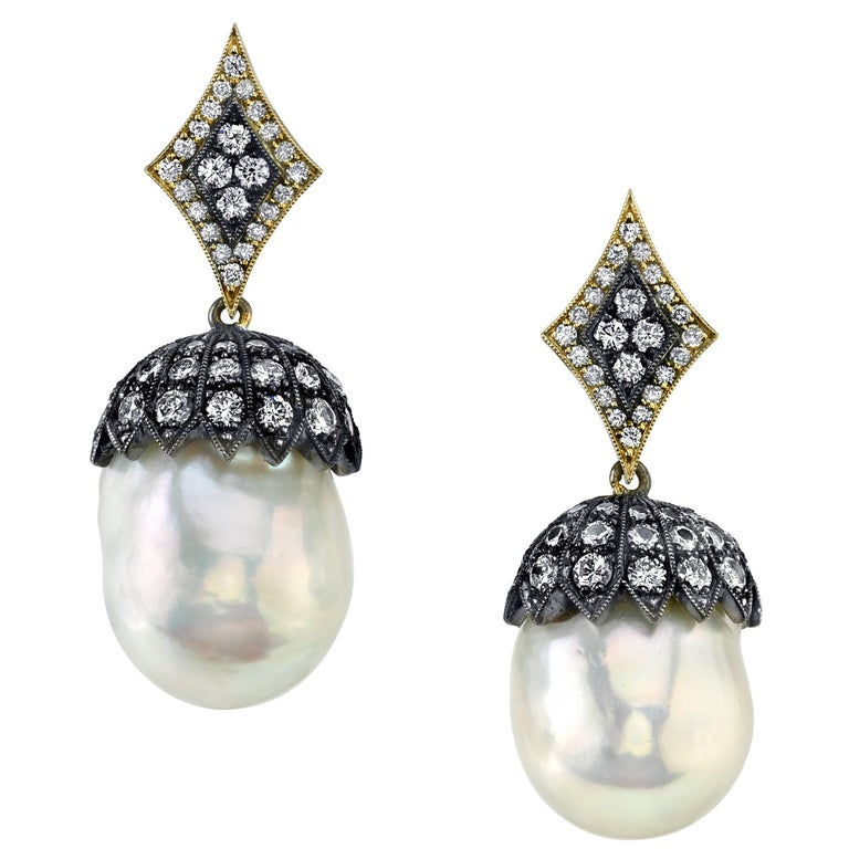 South Sea Pearl and Diamonds Earrings For Sale