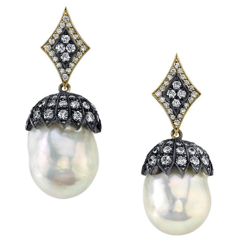 South Sea Pearl and Diamonds Earrings 1