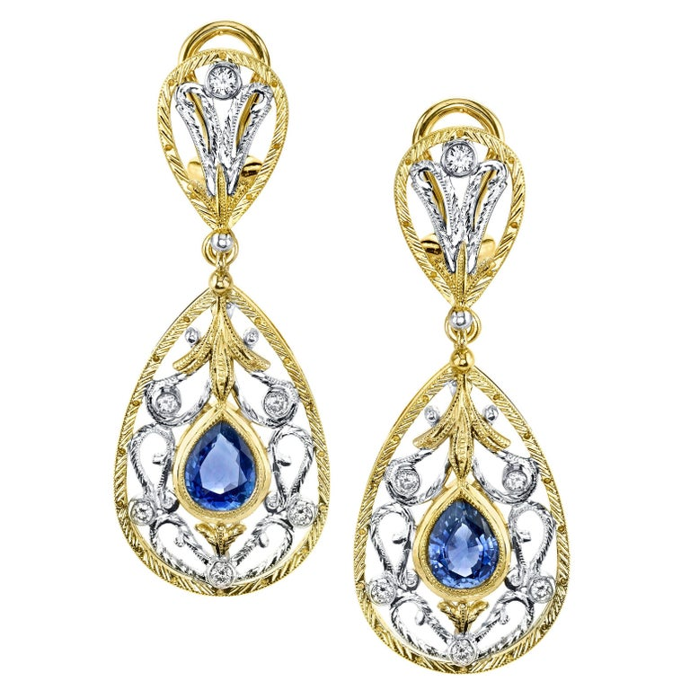 Blue Sapphire and Diamond Earrings, 18k Yellow and White Gold For Sale