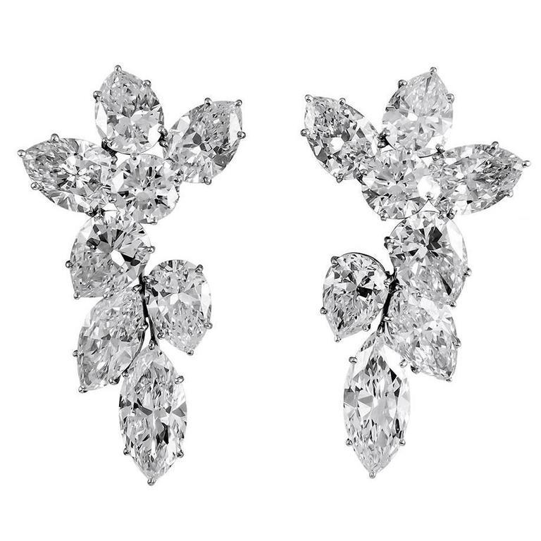 Harry Winston Diamond Cluster Ear Clips For Sale