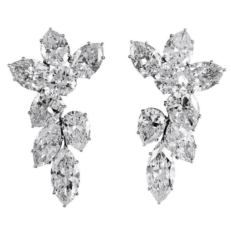 Harry Winston Diamond Cluster Ear Clips For Sale