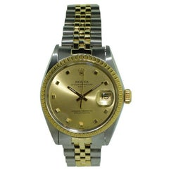 Rolex Yellow Gold Stainless Steel Datejust Perpetual Winding Wristwatch