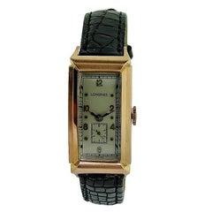 Longines Rose Gold Art Deco Elongated Manual Wristwatch, 1940s