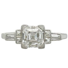 1930s 1.76 Carat Diamond and Platinum Solitaire Engagement Ring