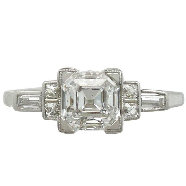 1930s 1.76 Carat Diamond and Platinum Solitaire Engagement Ring