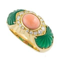 Cartier Coral Chrysoprase Diamond Ring