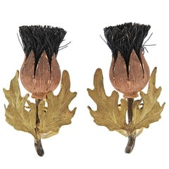 Buccellati Tri Color Gold Silver Thistle Earrings