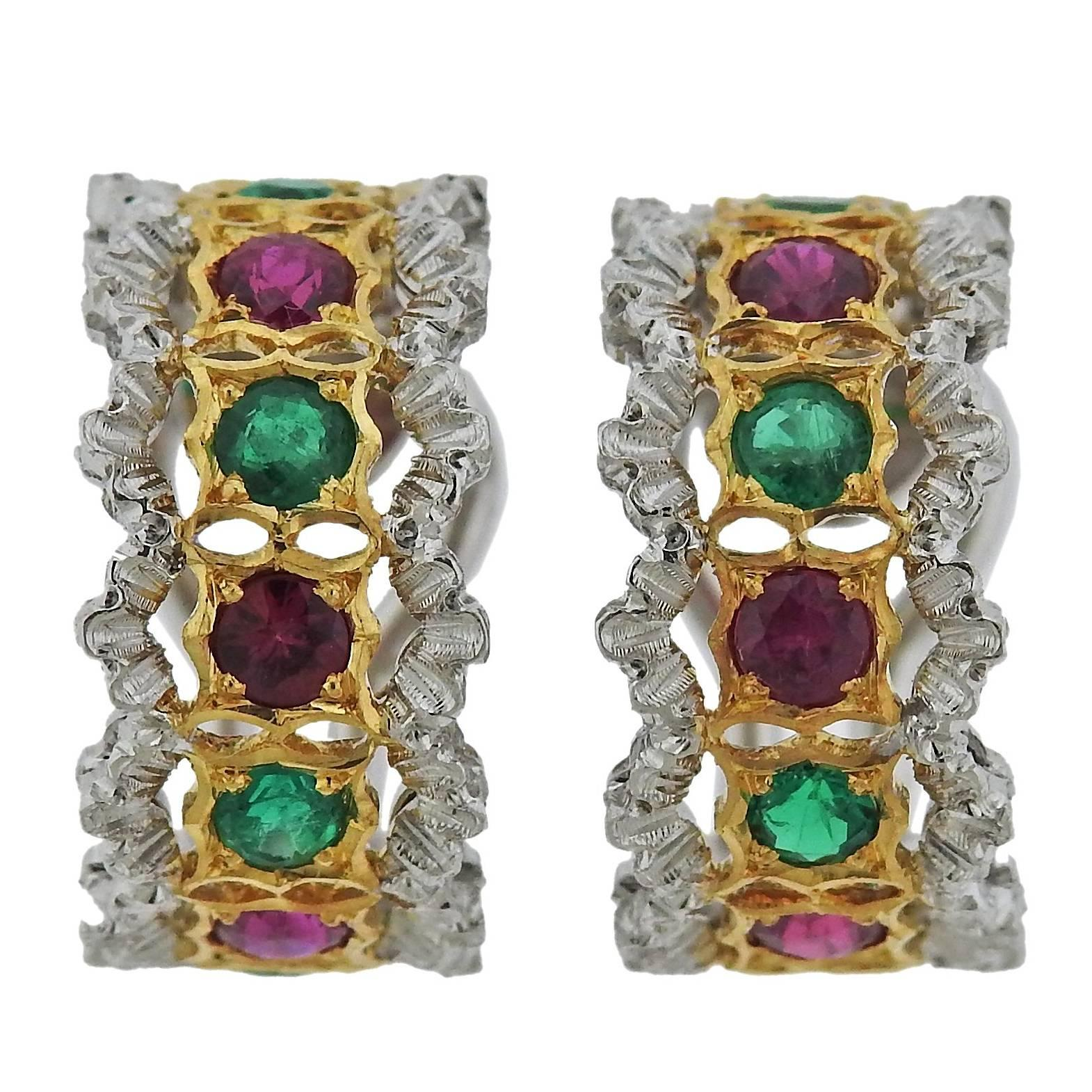 Buccellati Gold Ruby Emerald Hoop Earrings For Sale at 1stdibs