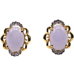 Lavender Jade Diamond Gold Earclips