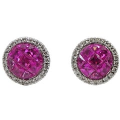 French Cut Pink Sapphire and Diamond White Gold Earrings
