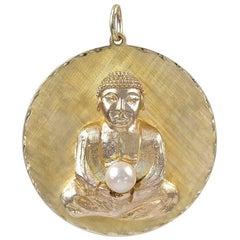 Large Gold Buddha Pendant Charm