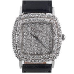 Asprey White Gold Full Pavé Set Diamond Dial Case and Buckle Wristwatch