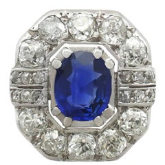 1930s French 2.20 Carat Sapphire and 2.16 Carat Diamond White Gold Cluster Ring